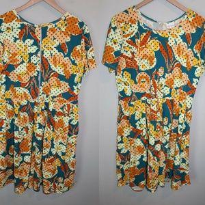 LulaRoe Babydoll Dress Teal Orange HW5747
